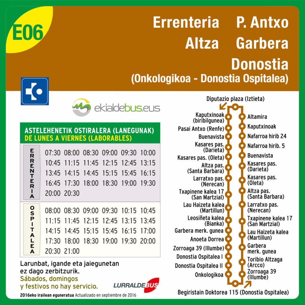 Nuevos horarios E06 a partir de septiembre de 2016