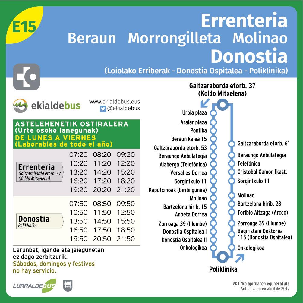 E15 Errenteria-Donostia (Onkologikoa y Poliklinika)