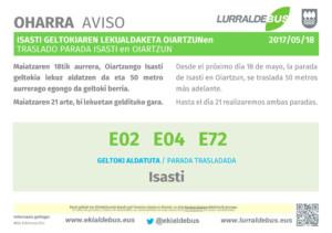 Oiartzun - Cambio parada Isasti - E02_E04_E72 - 20170518