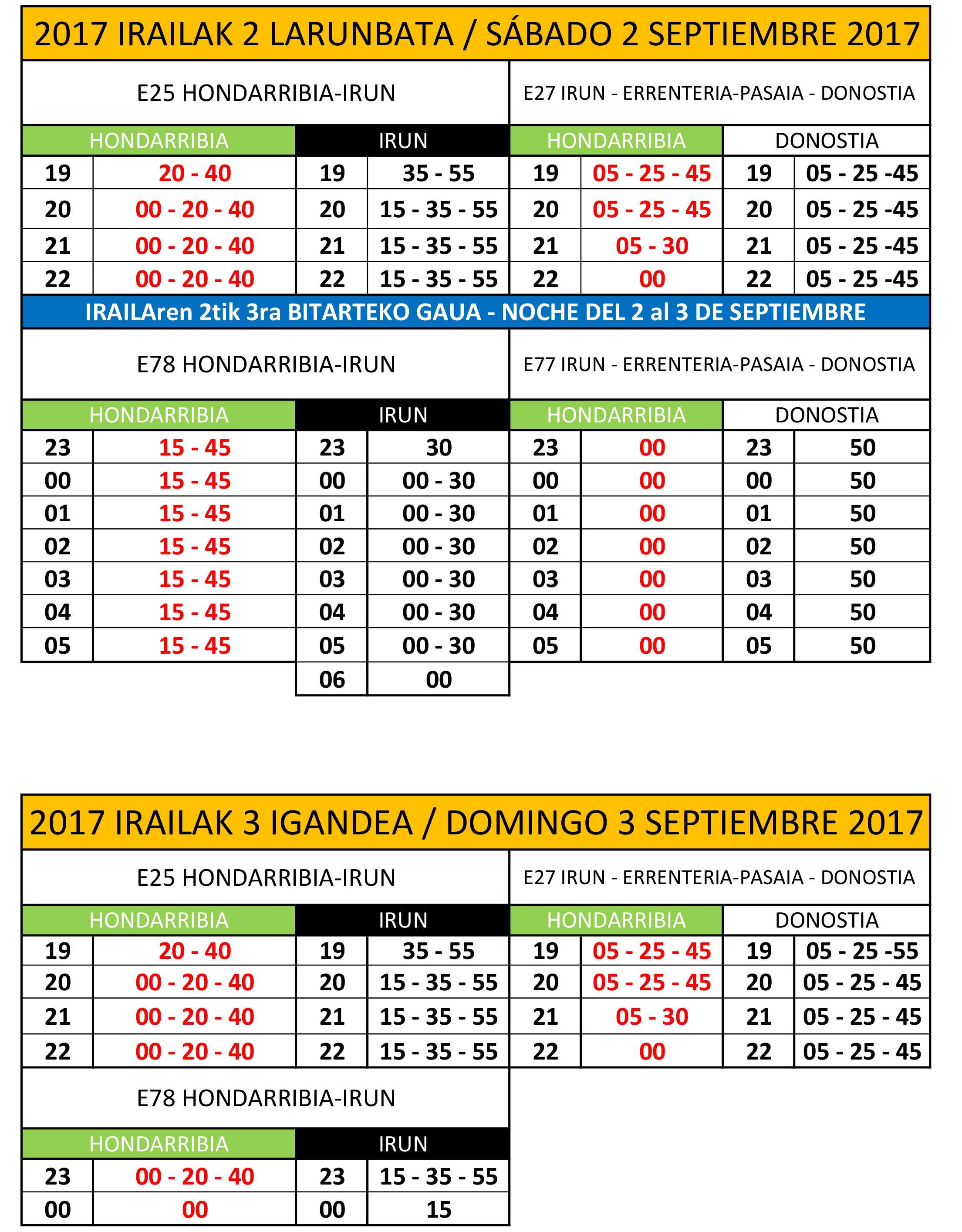 horarios al público 2017